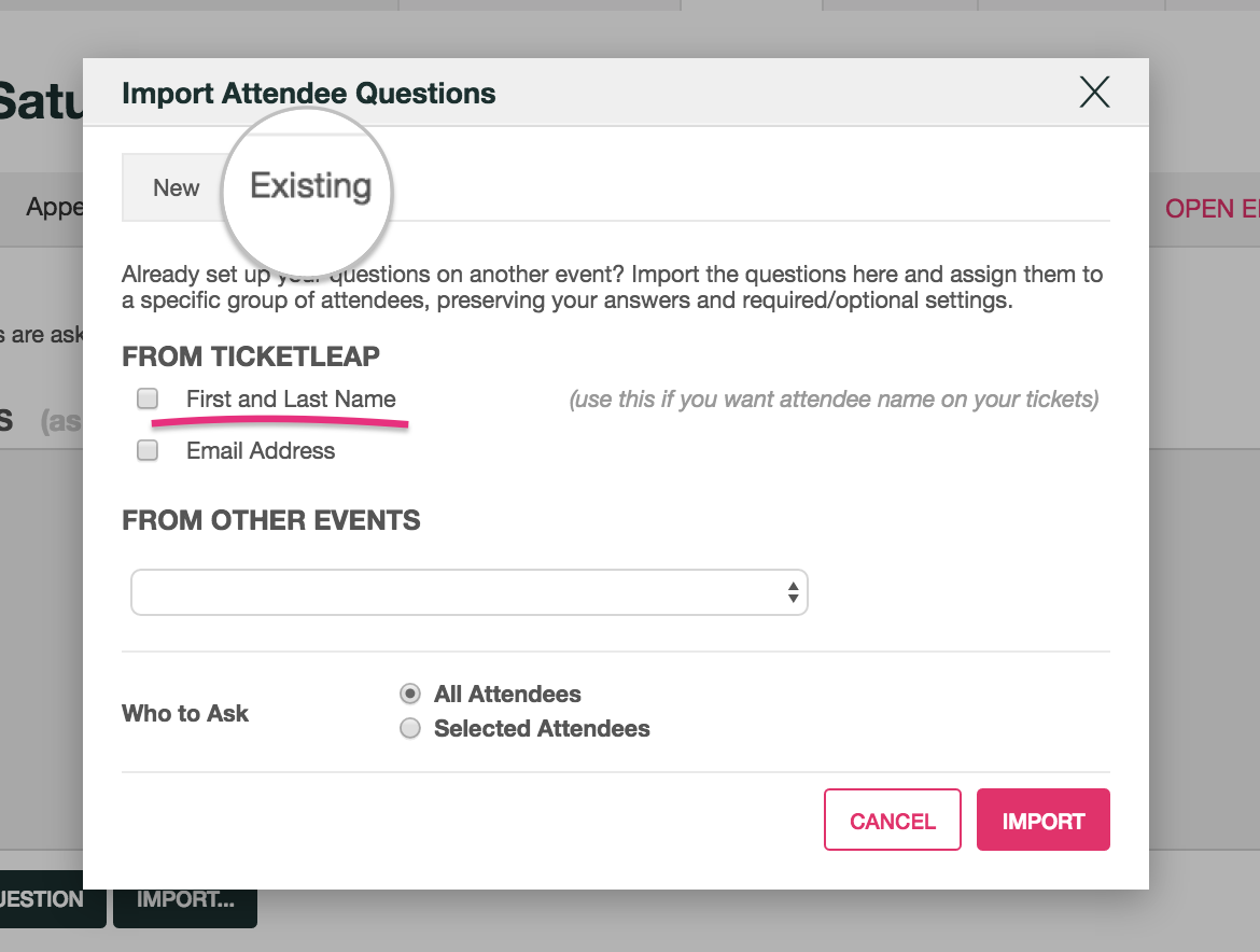 how do i get names to print on tickets ticketleap